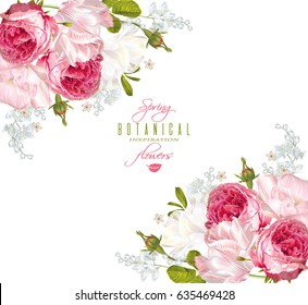 Vector floral banner with garden roses and tulip flowers on white background. Romantic design for natural cosmetics, perfume, women products. Can be used as greeting card or wedding invitation