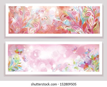 Vector floral banners.