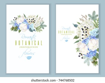 Vector floral banners with blue hydrangea, tulip flowers, conifer branches on white. Romantic winter design for christmas, new year. Can be used for greeting card, party invitation, holiday sale