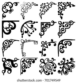 Vector floral black and white corners set.
