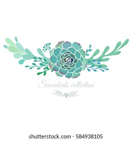 Vector floral border with succulents isolated on white, spring wedding template.