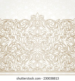 Vector floral border in Victorian style. Ornate element for design and place for text. Ornamental vintage pattern for wedding invitations and greeting cards. Traditional decor on light background.