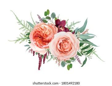 Vector floral bouquet design: blush peach Juliette rose flower, pale rose flowers, burgundy red orchid, coral heather, amaranth, Eucalyptus branch, greenery leaves, tender fern. Wedding invite element