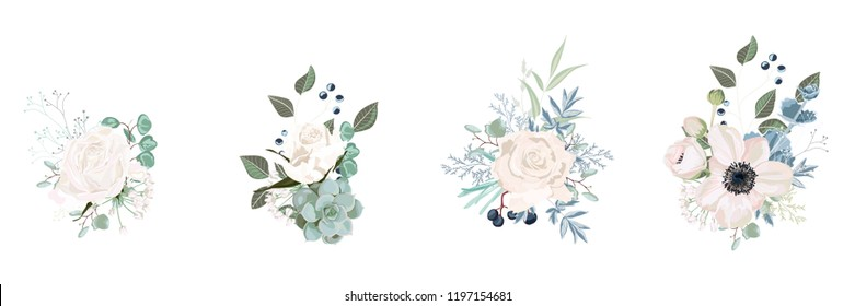 Vector floral bouquet design: garden pink  creamy powder Rose flower, anemone Eucalyptus branch greenery leaves berry. Wedding vector invite card. Designer element set. White background.