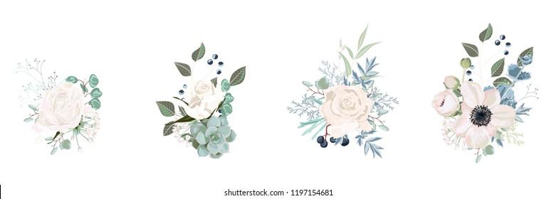 Vector floral bouquet design: garden pink  creamy powder Rose flower, anemone Eucalyptus branch greenery leaves berry. Wedding vector invite card. Designer element set. White background.