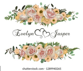 Vector floral bouquet design set, green forest leaf, brunia, fern, branches boxwood, buxus, eucalyptus, tea roses and chamaelaucium. Watercolor style, herbs. Wedding for invite card Isolated elements