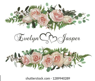 Vector floral bouquet design set, green forest leaf, brunia, fern, branches boxwood, buxus, eucalyptus, eustoma, tea roses and chamaelaucium. Watercolor style, herbs. Wedding for invite card Isolated