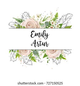 Vector floral card art wedding watercolor Invitation card design: floral garden powder white light rose Rose flower green Eucalyptus agonis leaf hand drawn line feathers, bead Boho border frame invite