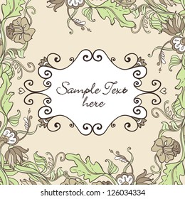 Vector Floral card with Border of curls