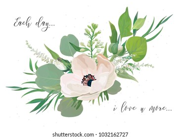 Vector Floral card design with elegant bouquet of pink anemone flowers, cute white lilac buds, astilbe, forest greenery, delicate herbs, leaves, eucalyptus branches. All elements editable and isolated