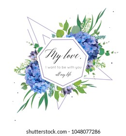 Vector floral card design with elegant bouquet of blue hydrangea flowers, violet succulents, green eucalyptus, lilac, greenery leaves  berries,  geometrical decoration. Wedding invite,  cute greeting