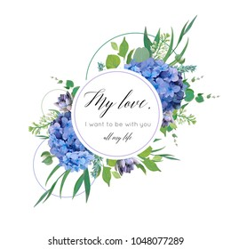 Vector floral card design with elegant bouquet of blue hydrangea flowers, white garden roses, green eucalyptus, lilac branches, greenery leaves, berries & geometrical decor. Wedding invite, greeting