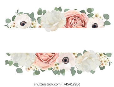 Vector floral card design with Flower Bouquet of Peach, pink powder white Rose, Peony wax flowers eucalyptus green  branch & leaf, greenery mix. Elegant template with copy space. Wedding tender invite