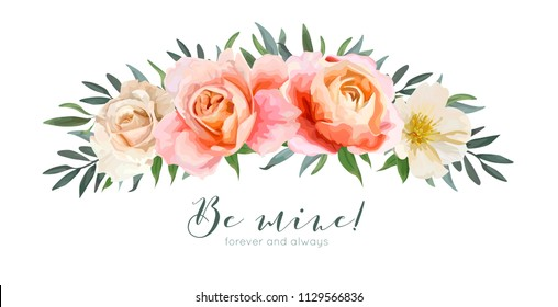 Vector floral card design: garden pink peach, creamy orange Rose, yellow white Magnolia flower, Eucalyptus, olive branches greenery and green leaves wreath bouquet. Wedding watercolor invite, greeting