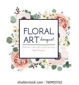 Vector floral card design: garden flower pink peach Rose white Anemone wax green Eucalyptus leaves elegant greenery berry in watercolor. Vector editable decorative invite postcard elegant illustration
