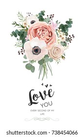 Vector floral card design: Rose peach pink flower white Anemone wax green Eucalyptus leaves elegant watercolor greenery. Vector elegance decorative invite love you quote postcard elegant illustration
