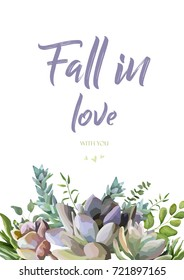 Vector floral card design: Succulent flower plant watercolor hand drawn beautiful border. Vector elegant art of greenery eucalyptus green leaf illustration. Lovely  echeveria cactus frame & text space
