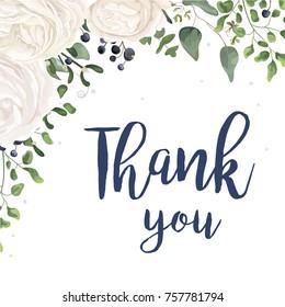 Vector floral card Design with watercolor white rose ranunculus garden flower privet blue berry eucalyptus mistletoe fern leaf bouquet, lovely frame border. Wedding invite thank you card cute template