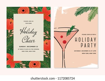Vector Floral Christmas Invitations. Holiday Party Template Collection