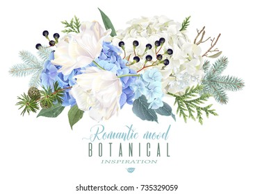 Vector floral composition with blue hydrangea, tulip flowers, conifer branches on white. Romantic winter design for christmas, new year. Can be used for greeting card, party invitation, holiday sale