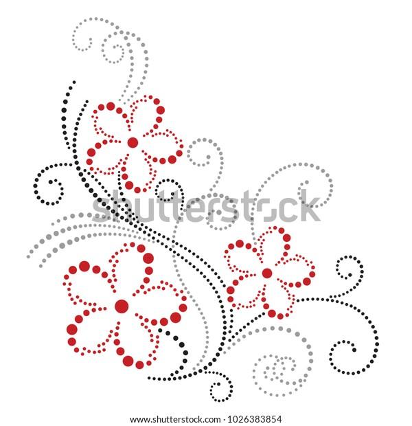 Vector Floral Corner Design Dotted Ornament Stock Vector