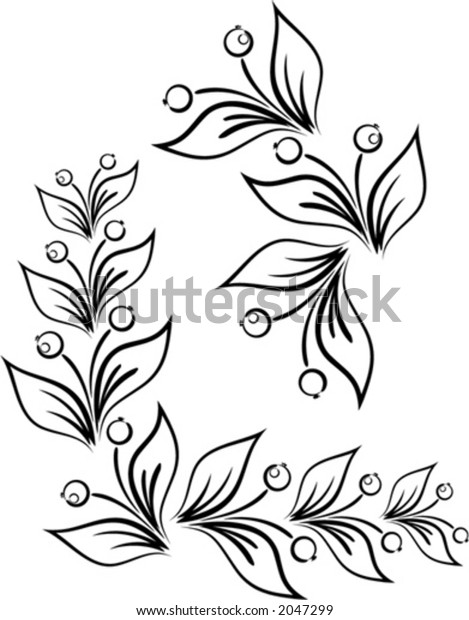 Vector floral corner ornament. This is a vector image - you can simply edit colors and shapes