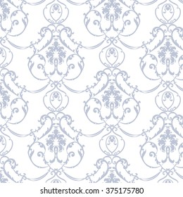 Vector floral damask ornament pattern.  Elegant luxury texture for textile, fabrics or wallpapers backgrounds. Serenity blue color
