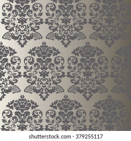 Vector floral damask ornament pattern. Elegant luxury texture for textile, fabrics or wallpapers backgrounds. Gray granite color