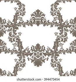 Vector floral damask ornament pattern. Elegant luxury texture for textile, fabrics or wallpapers backgrounds. Coffee color