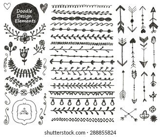 vector floral decor set, collection of hand drawn doodle frames, dividers, borders, arrows design elements. Isolated. May be used for wedding invitations, birthday cards, banners or any design
