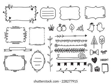 vector floral decor set of hand drawn doodle frames, dividers, borders, elements. Isolated