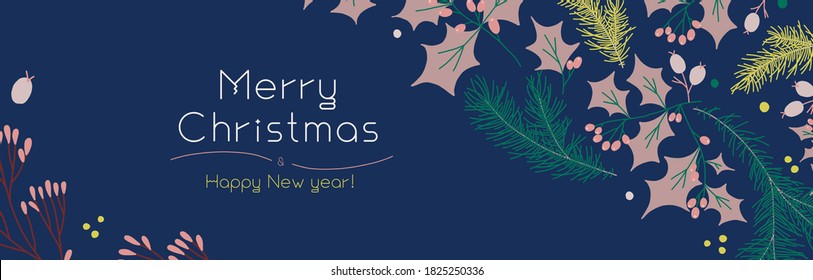 Vector floral decoration with Christmas botanical pattern for background. New Year wallpaper design. Xmas fair flyer with organic flat decorations. Template banner of winter sale.