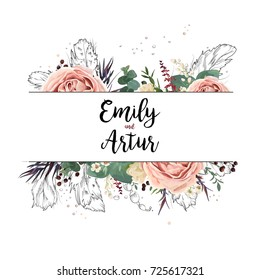 Vector floral design card boho art wedding watercolor Invitation card design: floral garden pink lavender Rose flower green eucalyptus agonis leaf hand drawn line feathers, bead. Bohemian frame invite