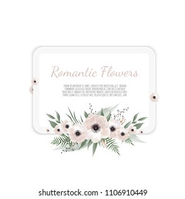 Vector floral design card. Greeting, postcard wedding invite template. Elegant frame with rose and anemone.