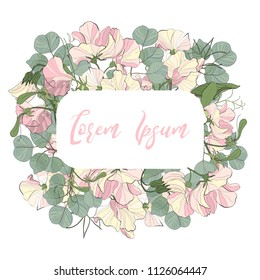 Vector floral design card invitation: floral garden pink sweet pea flower and green eucalyptus dollar leaf. Bohemian frame invite
