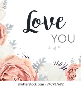 Vector floral design card. Pink peach garden Rose, white peony flower, dusty miller silver leaves, agonis mix bouquet. Greeting postcard wedding invite. Frame border, Love you quote. Tender copy space