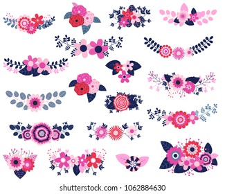 Vector floral design elements in blue, red and pink colors - flower bouquets for wedding invitations and greeting cards