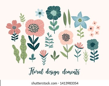 Vector floral design elements. Leaves, flowers, grass, branches, berries. Vector illustration.