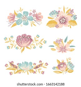 Vector floral design elements in summer and spring colors - flower bouquets for wedding invitations and greeting cards