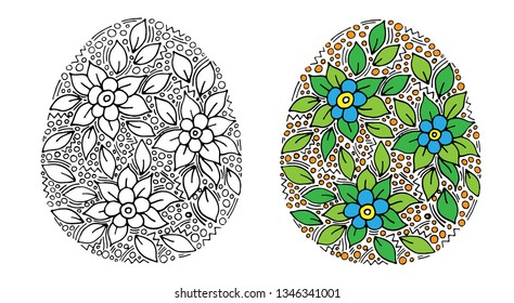Vector floral Easter egg with blue flower on white background. Easter Egg for coloring page for children and adult. Easter egg coloring book.