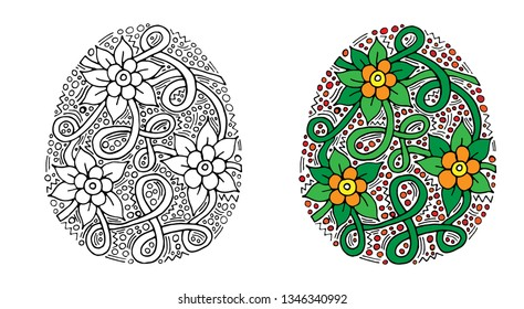Vector floral Easter egg with flower and leaf on white background. Easter egg coloring page for children and adult. Easter egg coloring book.