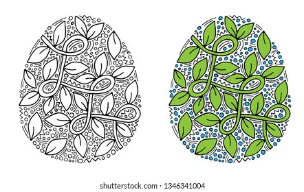 Vector floral Easter egg with green leaf on white background. Easter Egg for coloring page for children and adult. Easter egg coloring book.