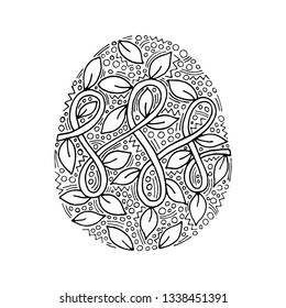 Vector floral Easter egg with handwriting inscription Happy Easter on white background coloring page for children and adult. Easter egg coloring book.