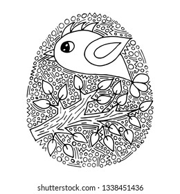 Vector floral Easter egg with handwriting bird and flower on white background coloring page for children and adult. Easter egg coloring book.