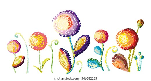 Vector floral elements. Colorful flowers and leaves. Dots and points. Van Gogh style