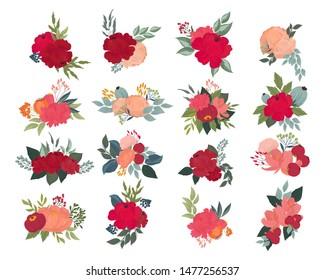 vector floral elements for pattern, card, invitation, branding, design