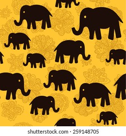 vector floral and elephants seamless wallpaper background pattern design
