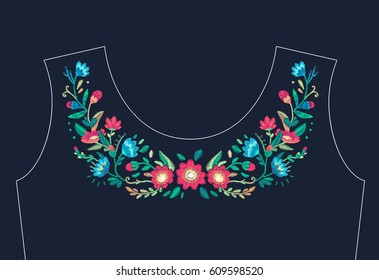 Vector floral embroidery design for neckline. Ethnic stitched ornament with flowers and leaf