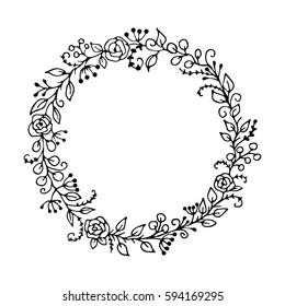 Vector floral frame. Bohemia concept for invitation
