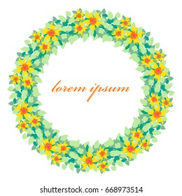 Vector floral frame. Bright yellow flowers with dense foliage. Decor for postcards, invitations, covers and other